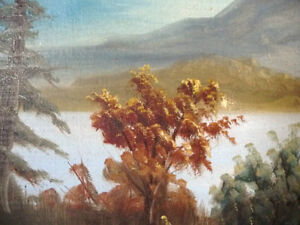 "Antique, Large Original Oil, ""Lake George"" by C. G. White Stratford Kitchener Area image 6"
