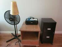 table,lamp,printer,filing cabinet/table, imprimante, classeur