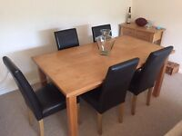 Large dining table and 5 x chairs