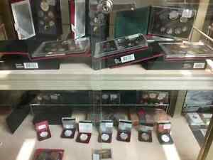 Proof coin sets, bills, stamps, sportscards plus 600 booths