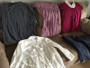 Maternity Clothes - 4 tops, 2 pair jeans - XL