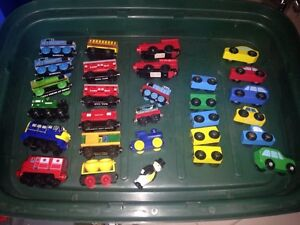 Thomas and other wooden trains trailers and cars
