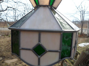 Vintage Leaded Stain Stained Glass Hanging Chain Light Shade