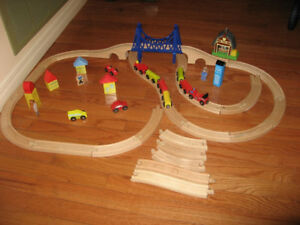Wooden Railway Train Sets w/ Tracks, Trains, Buildings, Figures
