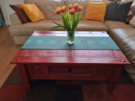 URGENT SALE ☆ Beautiful shabby chic wooden coffee table brick red