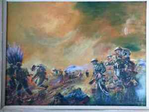 WWII Canadian Army In Action ORIGINAL OIL PAINTING Signed
