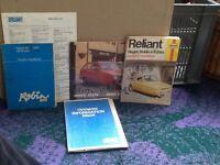 Robin reliant owners handbook pack + manual