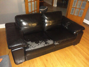 Leons Black Leather Couches
