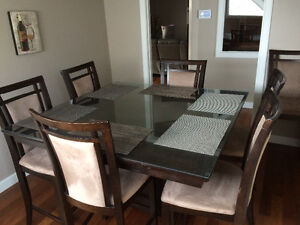 Espresso dining table with 8 chairs