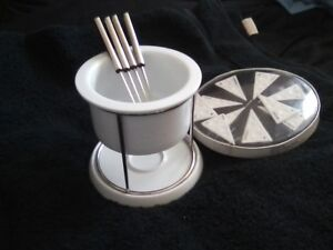 Fondue Pot - 4 Forks -.10 Cheese Labels.