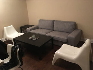 BRAND NEW BARELY USED COUCH, 2 CHAIRS, AND BAR STOOLS