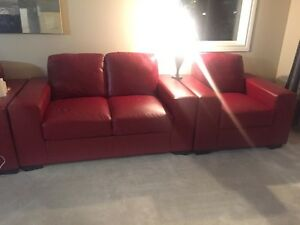 Red Faux leather couch, loveseat, chair  Regina Regina Area image 3