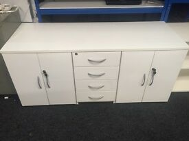 White Side Board 2 Cupboards 4 Drawers c/w Keys