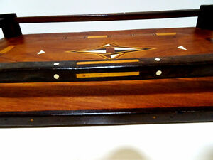 late 19thC WOOD GALLERY TRAY star inlay bone MOORISH Persian Oakville / Halton Region Toronto (GTA) image 6
