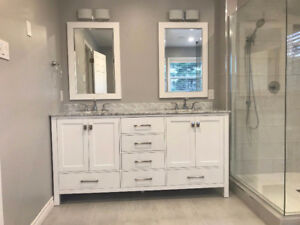 72 inch double vanity with marble counter and mirrors included