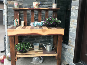 Reclaimed wood furniture and planters