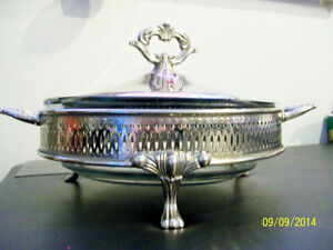 Vintage Round Glass Casserole in Silver Plated Frame with Cover