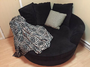 Large Black Cuddler Chair/Couch
