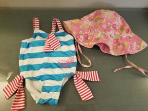 12m swimsuit and sun hat