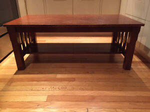 DOUBLE LAYER WOODEN COFFEE TABLE