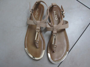 Aldo Sandal - Light Tan with Brass Accent - Size 8 - New