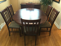 9 piece dining room set - w/ table ext, chairs & buffet