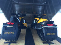 Like new! 2 Ski-doo Rev XP's,brand new trailer, covers + helmets