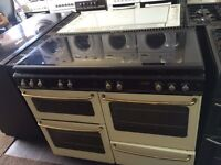 Black & cream new home 110cm seven burners gas cooker grill & double oven good condition with guar