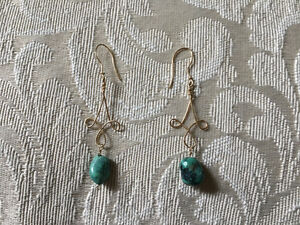 Gold & Turquoise Chandelier Earrings