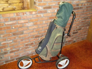 MENS RIGHT HAND GOLF CLUBS,BAG AND TRI CADDY FOLDING GOLF CART