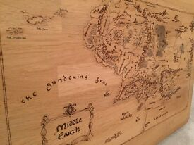 Hand burnt map of Middle Earth - Lord of the Rings/ Hobbit