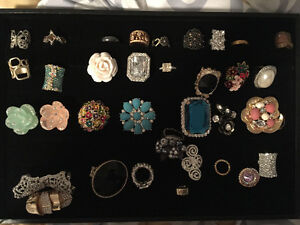 Collection of rings and holder