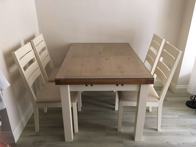 Geneva Extending Dining Table and 4 Slatted Chairs | in