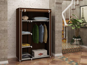 Portable Closet Wardrobe (Metal Shelves with Fabric Cover) **