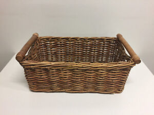 Wicker Basket with Wooden Handles (2 Available)