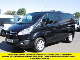 2014 FORD TRANSIT CUSTOM 270 LIMITED SWB IN BLACK WITH ONLY 26.000 MILES,AIR CON
