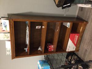 Bookcase oak small damage ground level shelf