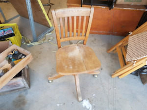 Antique wood office swivel chair