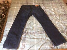 Levi's 504 36/32 leg denim jeans. Worn half a dozen times. Straight leg, dark blue.