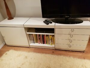 White Ikea TV stand long cabinet