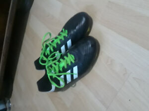 Used Black White And Green Adidas Soccer Cleats