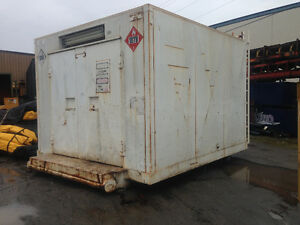Generator enclosure skid mounted with lights and switch gear int
