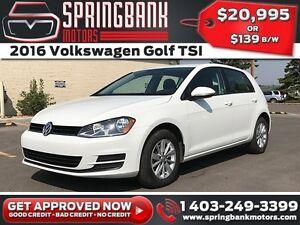 2016 Volkswagen Golf TSI w/BackUp Cam $139B/W INSTANT APPROVAL,