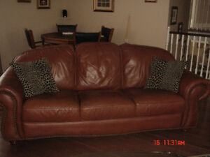 Real leather living room set