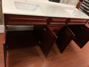 """72"""" Wooden Vanity with 2-sink on CLEARANCE!!!"""
