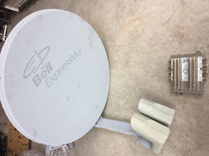 BELL SATELLITE DISH WITH DUAL LNB HEADS & SWITCH!