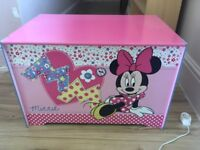 Minnie Mouse pink kids Toy Box with storage