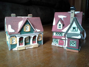 TWO LIGHTED PORCELAIN CHRISTMAS VILLAGE HOUSE ACCENT PIECES