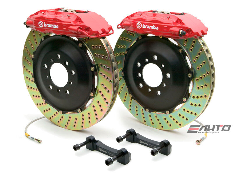 Brembo Front Gt Brake Bbk 4piston Red 355x32 Drill Rotor Disc Mustang 94-04