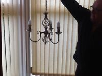 Ceiling light, silver in colour, three pronged, lovely little chandelier type £25